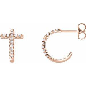 14K Rose 1/4 CTW Diamond Cross Hoop Earrings