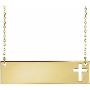 "14K Yellow Pierced Cross Bar 16-18"" Necklace"