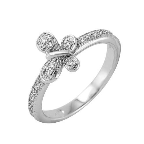 925 Rhodium Plated Clear Pave Set CZ Butterfly Ring
