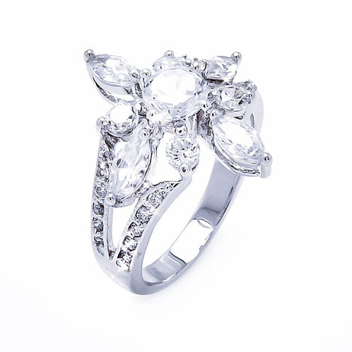 Clear Round & Marquise CZ Flower Ring
