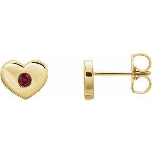14K Yellow Ruby Heart Earrings