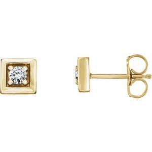 14K Yellow 1/8 CTW Diamond Earrings