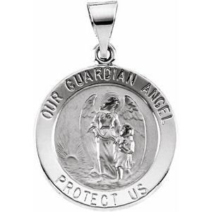 14K White 18 mm Hollow Round Guardian Angel Medal