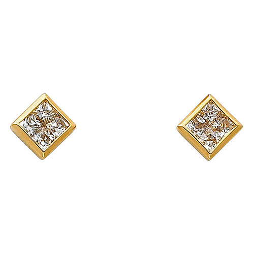 14K Yellow CZ Earrings