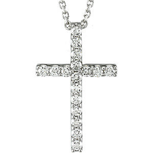 "14K White 1/6 CTW Petite Diamond Cross 18"" Necklace"