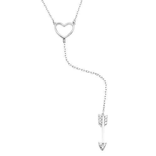 Heart & Arrow Cubic Zirconia Sterling Silver Dropped Necklace