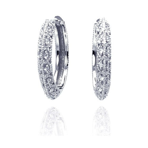 925 Rhodium Plated Micro Pave Clear CZ Hoop Earrings
