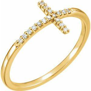 14K Yellow .08 CTW Diamond Sideways Cross Ring