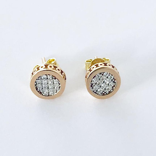 Round Cubic Zirconia Studs Earrings in 14k Rose Gold