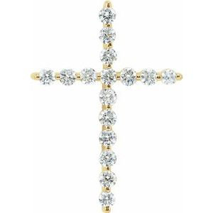 14K Yellow 1 1/4 CTW Diamond Cross Pendant
