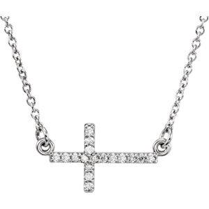 """14K White .08 CTW Diamond Sideways Cross 16-18"""" Necklace"""
