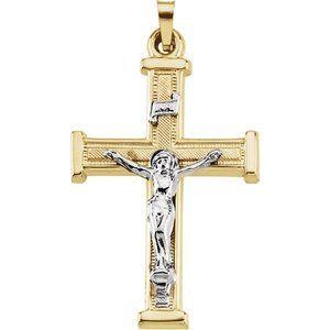 14K Yellow/White 25.3x18 mm Hollow Crucifix Pendant