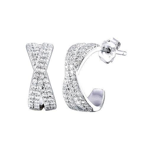 925 Rhodium Plated Semi Hoop X CZ Round Earrings