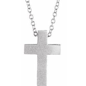 "14K White 13.5x9 mm Scroll Cross 16-18"" Necklace"