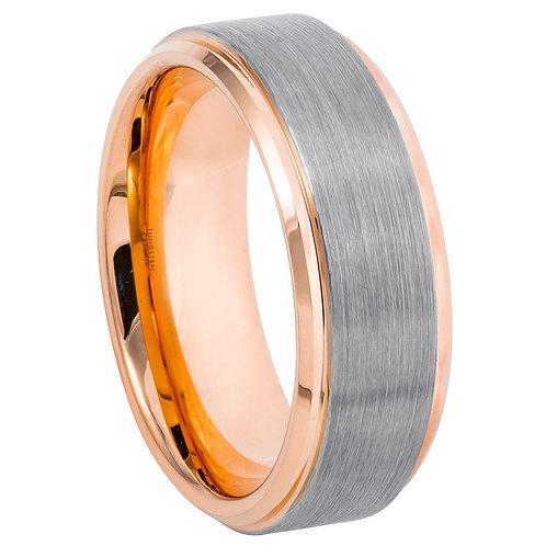 Two-tone Rose Gold IP Plated Beveled Edge & Brushed Finish - 8mm