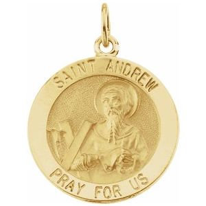 14K Yellow 22 mm Round St. Andrew Medal
