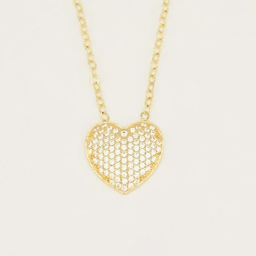 Cubic Zirconia Heart Necklace in 14k Yellow Gold