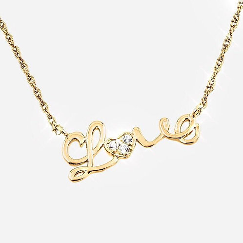 """Sterling Silver """"Love"""" Gold Plated Necklace"""