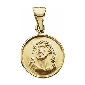 18K Yellow 13 mm Face of Jesus Medal