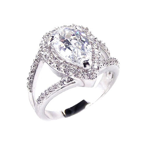 925 Rhodium Plated Clear Tear Shape CZ Bridal Antique Ring