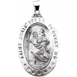 14K White 29x20 mm Hollow Oval St. Christopher Medal