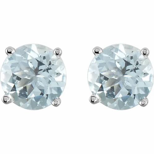 Platinum 5 mm Round Aquamarine Earrings