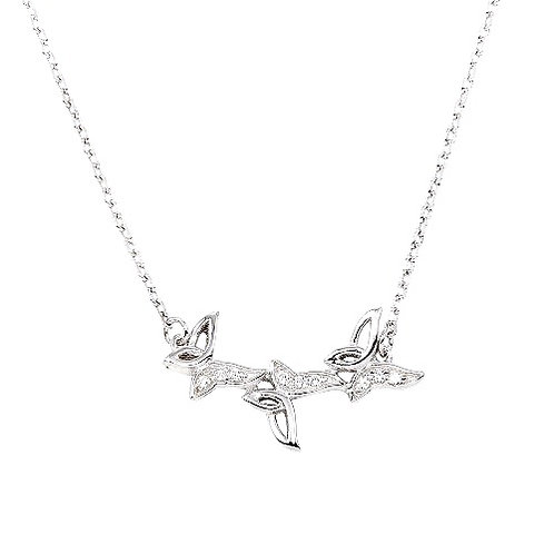 925 Rhodium Plated 3 Butterfly Pendant Necklace with CZ