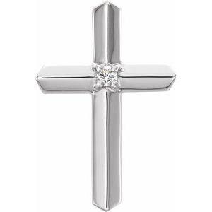 14K White .03 CT Diamond Cross Pendant