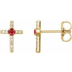 14K Yellow Chatham® Created Ruby & .06 CTW Diamond Cross Earrings