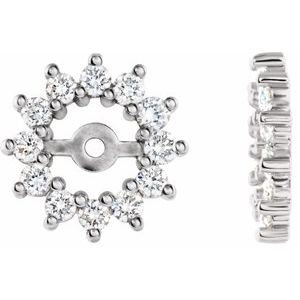 14K White 1/2 CTW Diamond Earring Jackets with 4.2mm ID