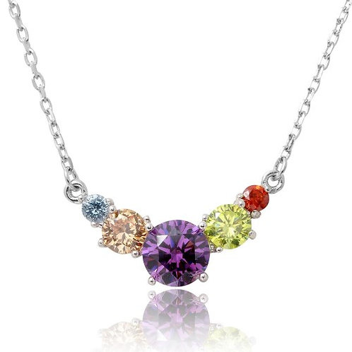 925 Rhodium Plated V Shaped Multi-Color Round CZ Necklace