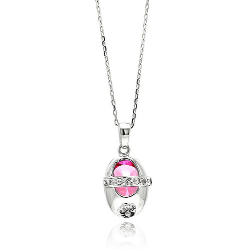 Pink Baby Shoe Cubic Zirconia Sterling Silver Pendant
