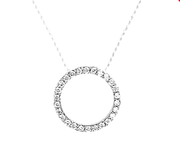 925 Clear CZ Rhodium Plated Open Circle Necklace 20mm