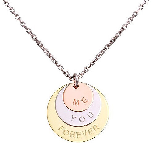 """925 Rhodium Plated Engraved """"Me You Forever"""" Disc Pendant Necklaces"""