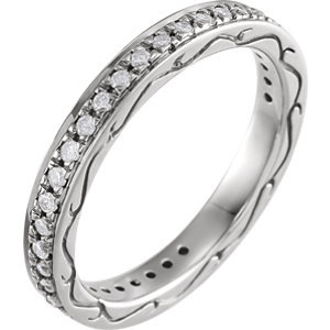 **18K White 1/3 CTW Diamond Eternity Band Size 6