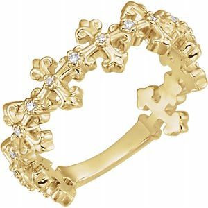 14K Yellow .06 CTW Diamond Cross Ring