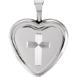 Sterling Silver 16x15.75 mm Cross Heart Locket