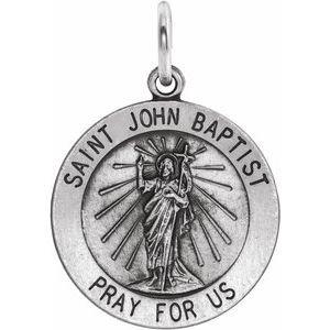 Sterling Silver 18 mm Round St. John the Baptist Medal