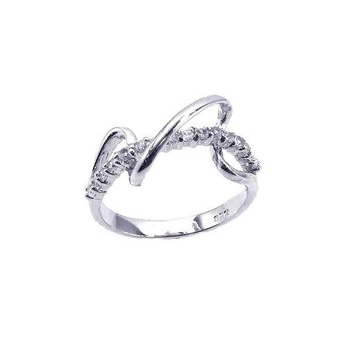 925 Rhodium Plated CZ Winding Zigzag Ring
