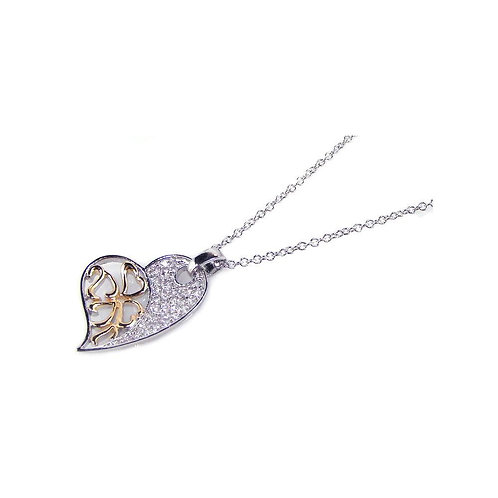 Heart Gold Rhodium Plated Cubic Zirconia Sterling Silver Pendant