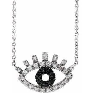 "14K White 1/8 CTW Black and White Diamond Evil Eye 18"" Necklace"