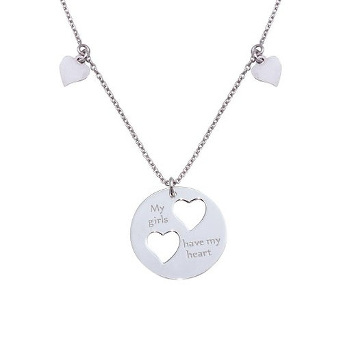 """925 Rhodium Plated """"My girls have my heart"""" Pendant Necklace with Cut-out Hearts"""