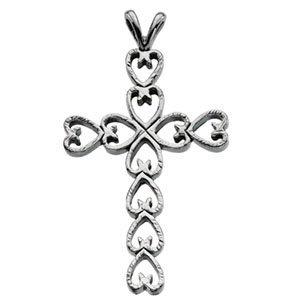 14K White 30x21 mm Heart Design Cross Pendant