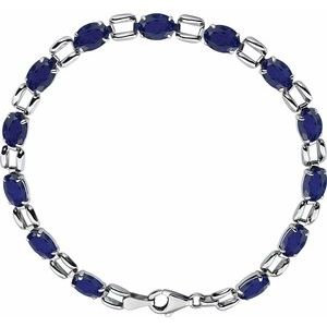 "14K White 7x5 mm Oval Lab-Grown Blue Sapphire 7"" Bracelet"