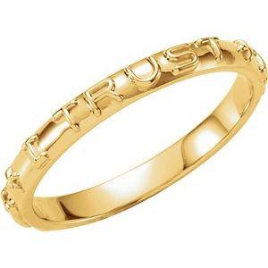 10K Yellow Jesus I Trust in You Prayer Ring Size 10
