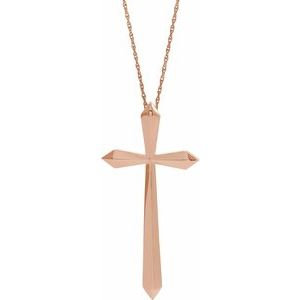 "14K Rose 38x18.5 mm Elongated Cross 20"" Necklace"
