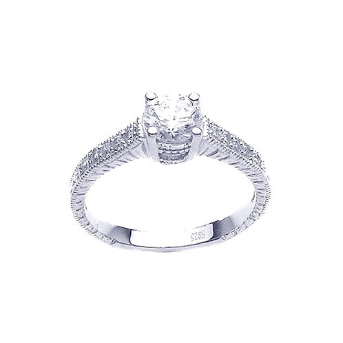 925 Rhodium Plated Pave Round Center CZ Ring