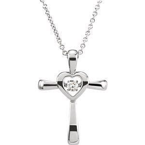 "14K White .08 CTW Diamond Heart Cross Mystara® 18"" Necklace"