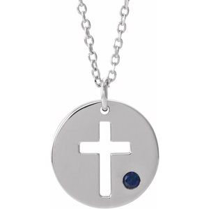 "14K White Sapphire Pierced Cross Disc 16-18"" Necklace"
