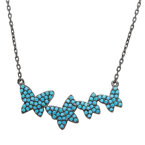 925 Black Rhodium Plated Graduated Turquoise Stones Encrusted Butterfly Necklace